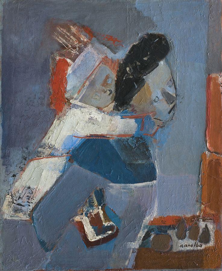 Kanelba Rajmund - ZABAWA Z DZIECKIEM, ok. 1950 olej, płótno, 76.5 x 64