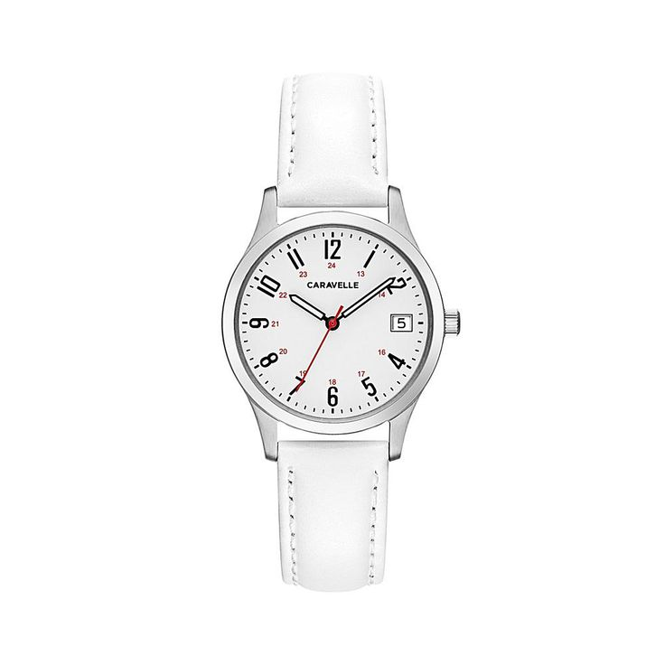 Caravelle New York by Bulova Silvertone Stainless Steel Round White Dial Date Window White Leather Strap Watch