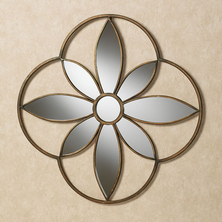 Enchanting Bloom Mirrored Wall Art Antique Gold