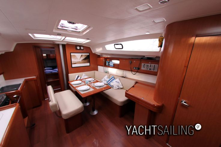 Roomy interior saloon with dining table
