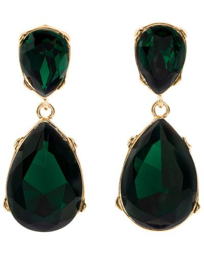 Jolie Drop Earrings by Kenneth Jay Lane $35.90 #Earrings #Green_Earrings #Kenneth_Jay_Lane