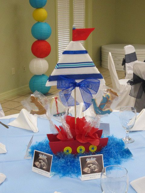 Nautical Baby Shower Theme Centerpiece Ideas -- Create the illusion of a sailboat floating in water as your sailor theme baby shower centerpieces.