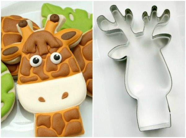 """How to create Giraffe Face Cookies using a variety of different cookie cutter shapes ~ via this blog, """"The Sweet Adventures of Sugarbelle""""."""