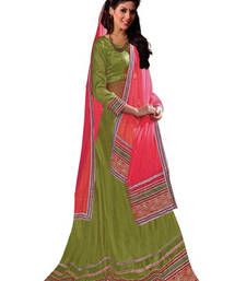 Buy Green embroidered net unstitched lehenga-choli Online