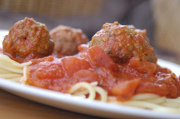 Mama Iuliucci's Famous Meat-A-Balls. I love this recipe! I substitute 1 pound of ground beef for Italian Sausage. Also, I use 1 cup of bread crumbs instead of bread (it's just easier)