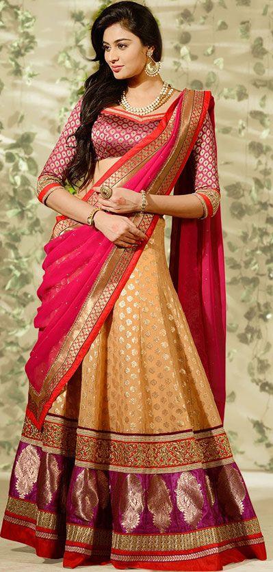 USD 135.89 Beige Banarasi Silk Wedding Lehenga Choli 43005
