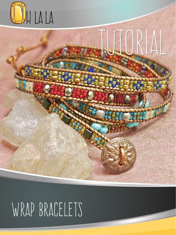 Tutoriel pour faire Bracelet Wrap. Bracelet en cuir motif broderie perlée. PDF en téléchargement numérique