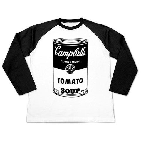 前面にドンっとスープ缶を配置したデザインになっており、ウォーホールのCampbell's Soup Cansをモチーフにしています〜。カラフルなスープ缶をあえて手刷りTシャツ風の白黒にしており、白黒にする事で、マーシャルアンプのようなロック感漂うTシャツになっています~。