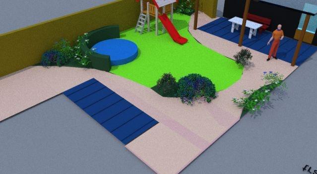 tuinontwerp met trampoline tuinoverkapping 300x600 cm met gras tuinborders vaste planten en kindvriendelijk