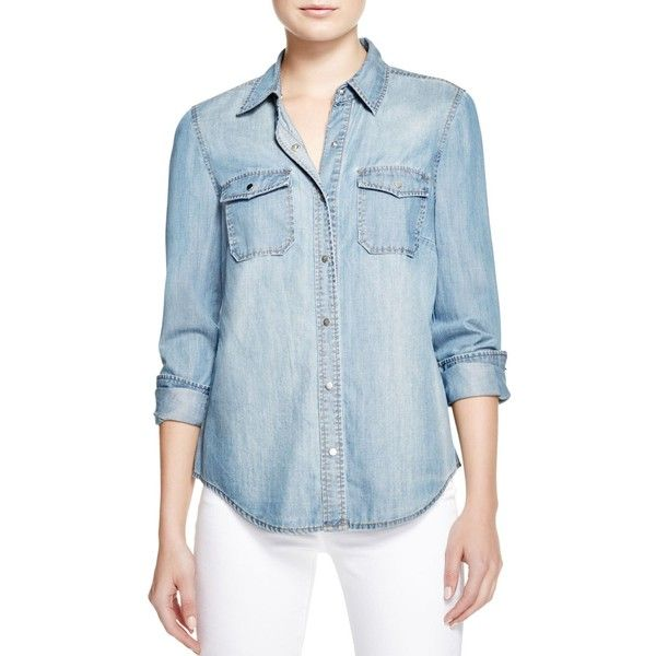 Bardot Fitted Denim Shirt ($95) ❤ liked on Polyvore featuring tops, vintage blue, bardot top, fitted denim shirt, tailored shirts, vintage shirts and fitted shirt