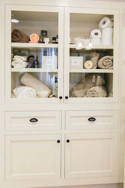 For Our New Linen Closet In The Master Bathroom Custom Built Cabinet