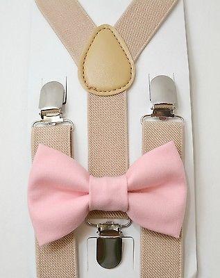 Kids Boys Baby SET Tan Suspenders & Pastel Pink Cotton Clip on bow tie 6mon-5Y