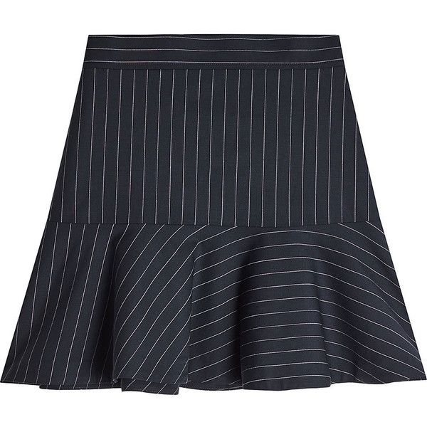 Zadig & Voltaire Joe Striped Wool Skirt (1364170 PYG) ❤ liked on Polyvore featuring skirts, stripes, navy knee length skirt, striped skirts, stripe skirt, navy blue knee length skirt and navy pinstripe skirt