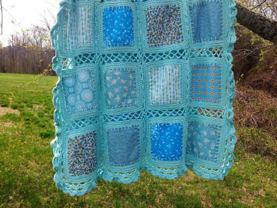 Crochet fabric aqua blanket crib blanketcrib by HooksAndRoses Two layers of fabric, no batting crocheted around.
