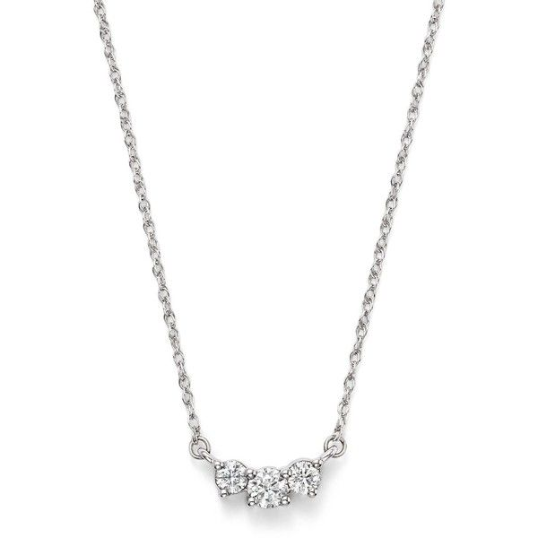 Diamond Three Stone Pendant Necklace in 14K White Gold, .50 ct. t.w. -... ($1,400) ❤ liked on Polyvore featuring jewelry, necklaces, white, white gold chain necklace, white necklaces, 14k necklace, white gold pendant necklace and chain necklaces