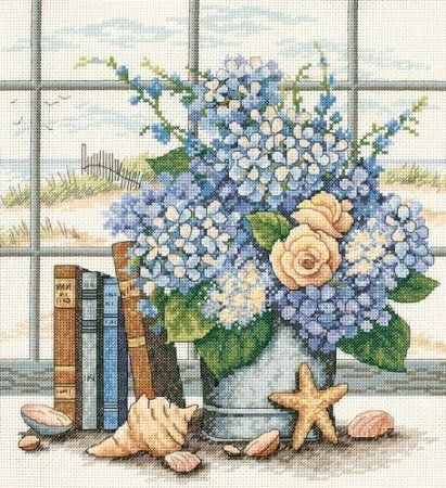Amazon.com: Dimensions Needlecrafts Counted Cross Stitch, Hydrangeas & Shells: Arts, Crafts & Sewing