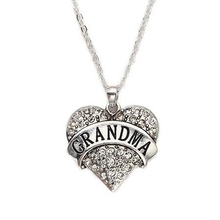 Grandma Pave Heart Charm Necklace @ Inspired Silver