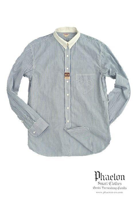 OLD JOE & Co. 2013AW - 13A/W HIGH BAND COLLAR SHIRTS - NAVY DOBBY STRIPE オールドジョー《13A/W-HCS ハイバンドカラーシャツ》ネイビードビーストライプ 1920's頃にジェントルマンが着用していたシャツからインスパイアされたオールドジョーのハイバンドカラーシャツ。高い台衿に、角度の鋭い衿先。シェイプされたウエスト、アシンメトリーなポケット等、クラシカルなジェントルメンを彷彿とさせるオールドジョーのハイバンドカラーシャツ。今期は待望のクレリック仕様で登場。