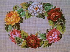 Berlin Wool Work Floral Wreath Pattern ..