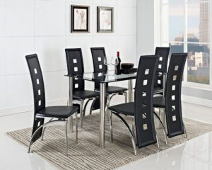 extending black glass dining table and 6 chairs set - Dining Table Black Glass