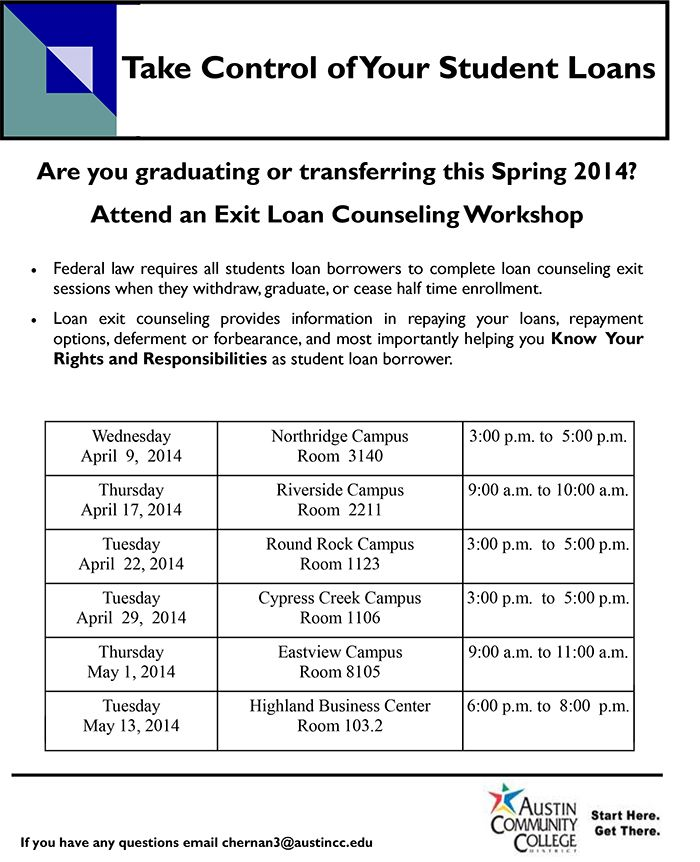 Take control of your student loans and join the free student loan exit counseling workshop. For more details, check this!