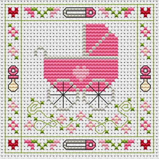 Pink Pram Cross Stitch Card Kit