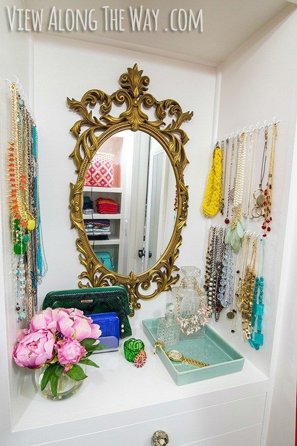 Keep your necklaces in order with simple wall hooks.   15 Dollar Store Closet Hacks If You Have Way Too Much Shit