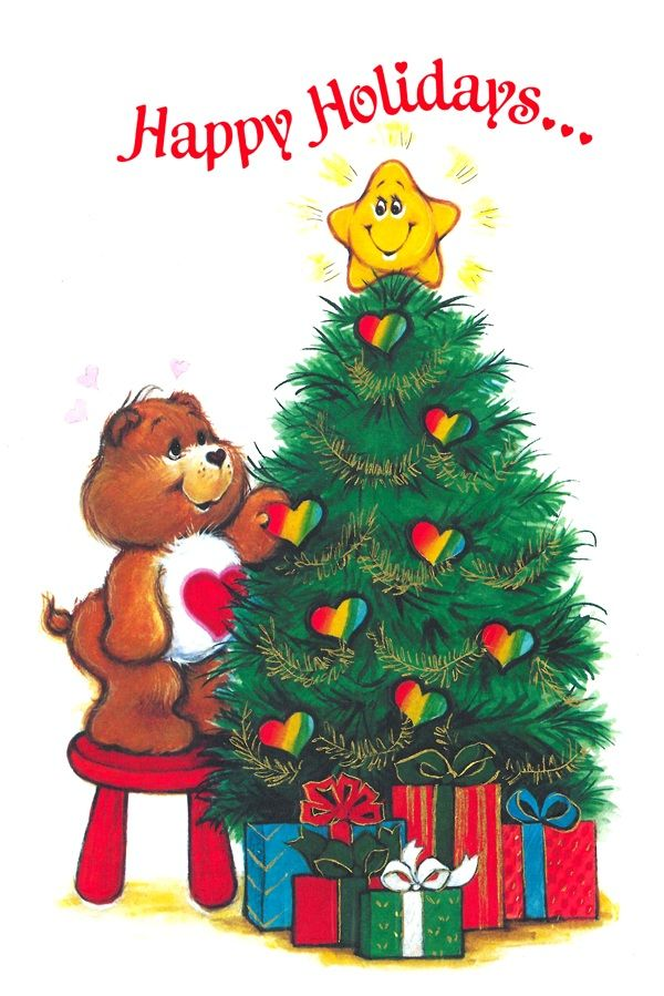 Vintage Christmas card - 1985, with a Care Bear decorating the Christmas tree with heart ornaments! -- Carole Trese Swanson (1/2/2014)  Christmas (CTS)