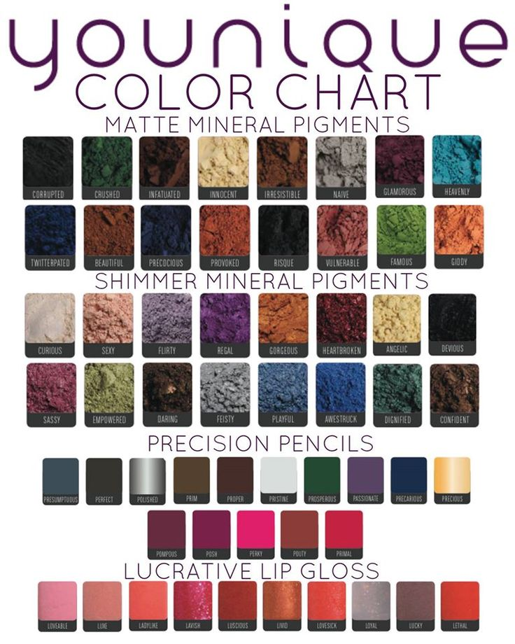Younique Mineral Pigment Color Chart www.youniqueproducts.com/kimcando