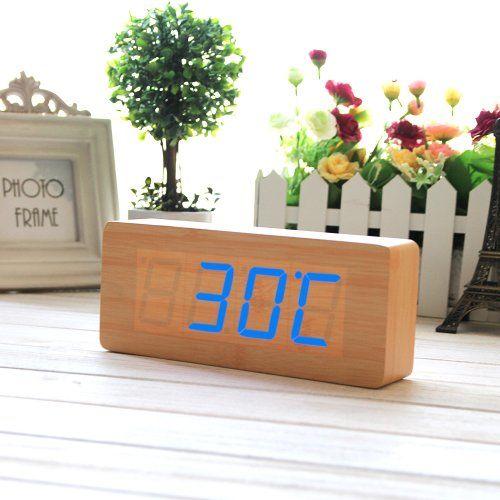 Eiiox Holz Wecker Blau LED Kalendar Thermometer Wecker mit USB Kabel