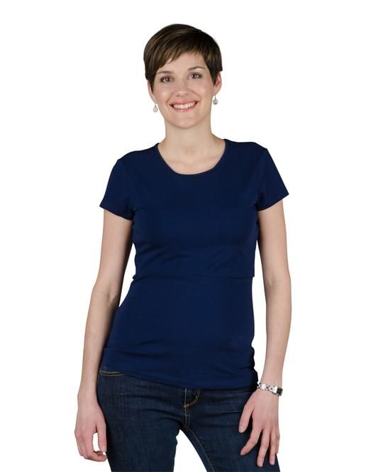 This cute round neck nursing top is classic Momzelle, with its flattering silhouette and practical openings.    #breastfeeding #momzelle #nursingtop