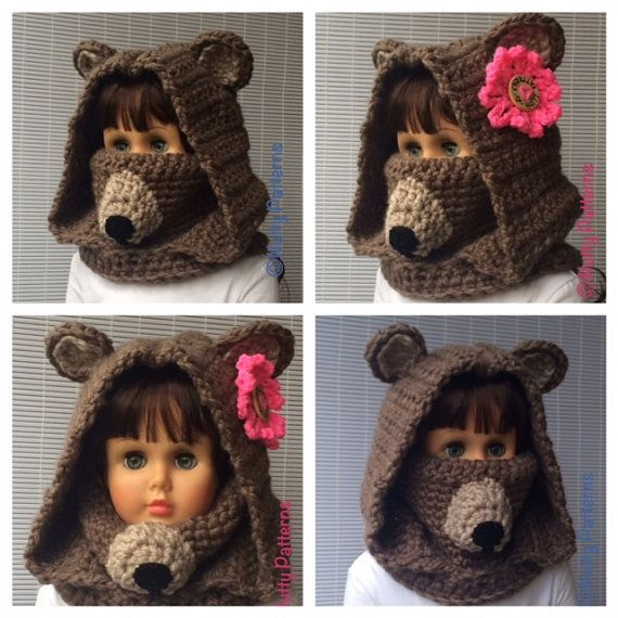 Crochet Patterns Bear Hooded Cowl Instant por nuttypatterns