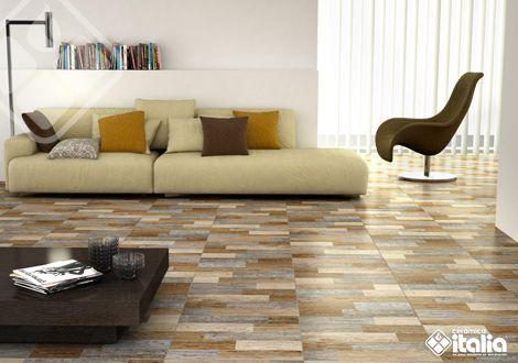 Los diseños de listones de #madera en colores modernos llenarán de calidez y movimiento tu sala. #MaderaCerámicas