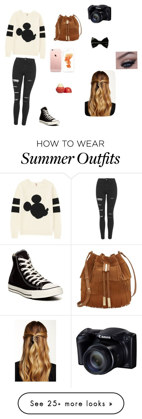 """Random outfit"" by huskiesarecute on Polyvore featuring Uniqlo, Topshop, Converse, Vince Camuto, Natasha Accessories and Eos"
