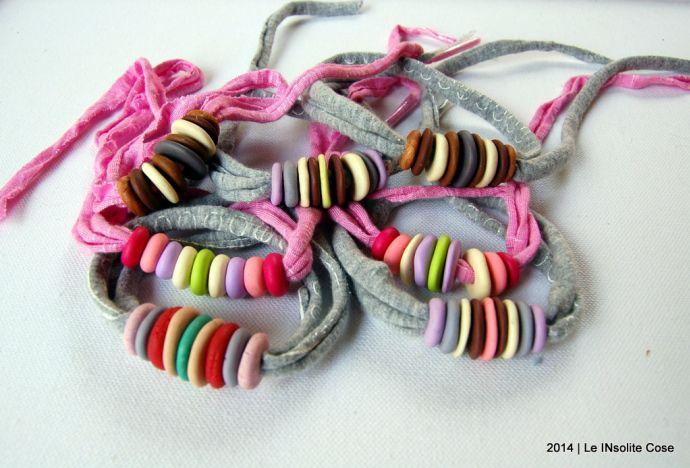 Bracciali con perline di fimo su cotone elastico - Le InSolite Cose 2014 (3)