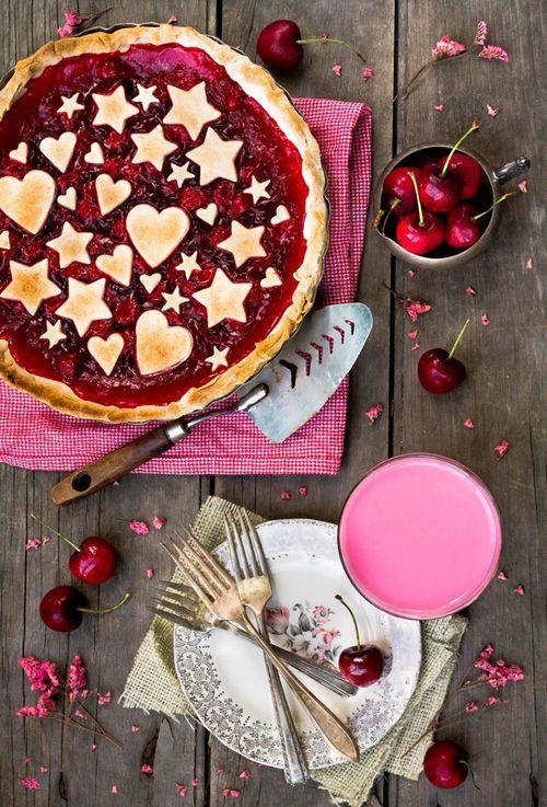 Hello, pretty pie! Cherry pie with star and heart crust cutouts. Loveprintstudio