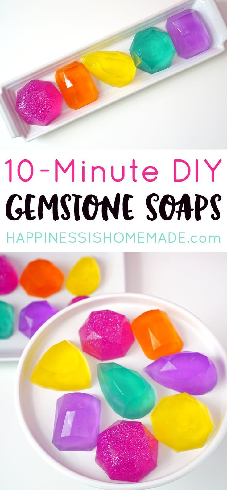 Make your own DIY Gemstone Soaps in around 10 minutes! These sparkly gem and jewel soaps shimmer, shine, and smell AMAZING (in any fragrance your heart desires!)! Makes a great quick and easy DIY homemade holiday gift idea that's perfect for friends, fami
