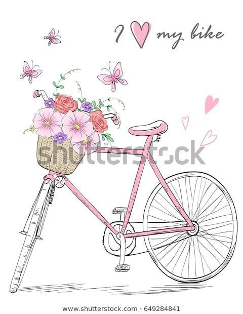Encontre imagens stock de Bicycle Basket Full Flowers On Background em HD e milh…