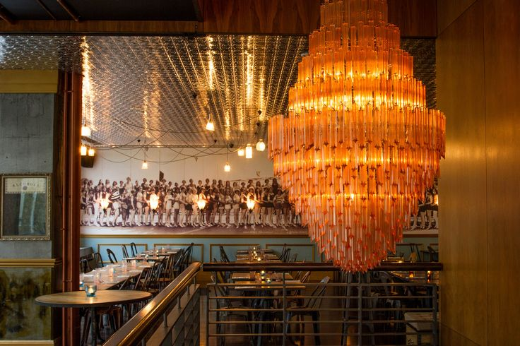 Our beautiful chandelier at the entrance of the bar.