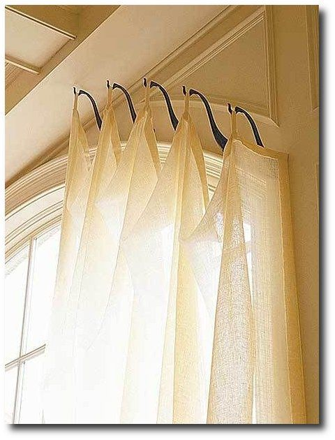 window coverings with hooks genius idea for odd shaped sized windows use hooks instead of a rod. Black Bedroom Furniture Sets. Home Design Ideas