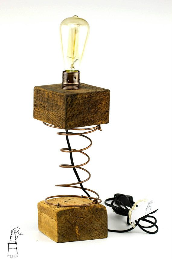 Wiggling lamp Wood Lamp with metal spring. Snoop by PriosTeam