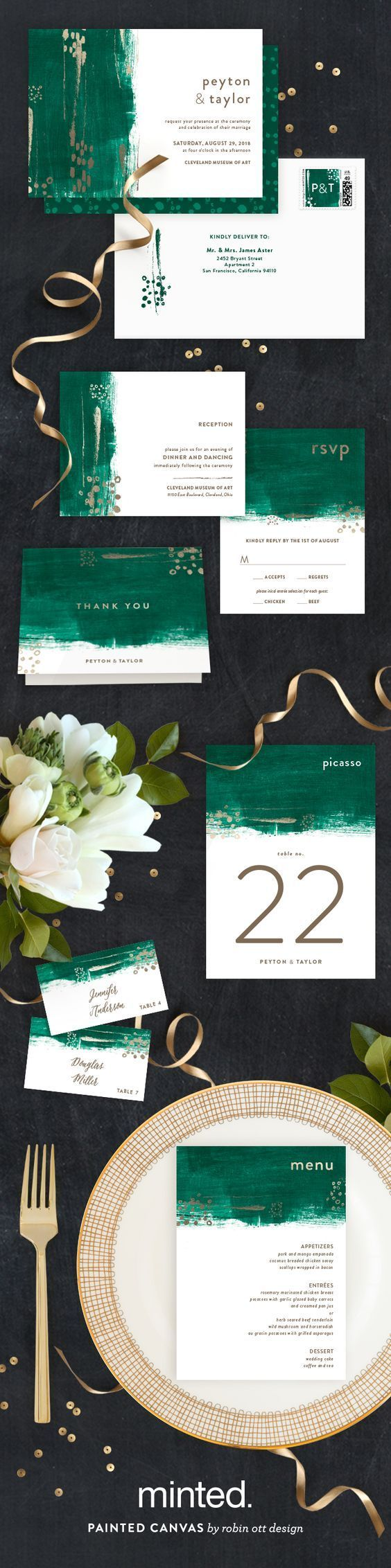 Add a hint of gold to your outdoor wedding to give it an air of elegant opulence. Painted Canvas Wedding Invitation and Reception Decor by Minted artist Robin Ott. Available now on Minted.com: