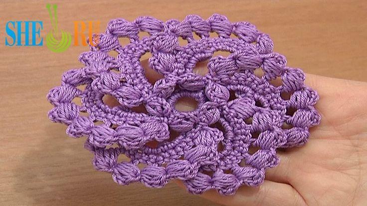 Crochet Spiral 6-Petal Flower Tutorial 60 part 2 of 2 Puff Stitches Center