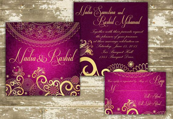 SAMPLE of Customizable Indian Wedding Invitations on Etsy, $4.27 CAD