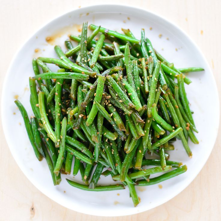 Stir fried green beans: green beans, chili flakes, garlic, soy sauce, brown sugar, sesame oil