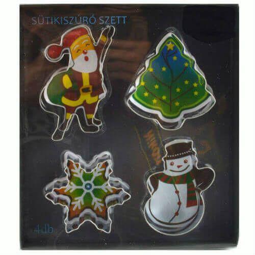 Karácsonyi nagy sütikiszúró szett: mikulás, karácsonyfa, hópehely, hóember