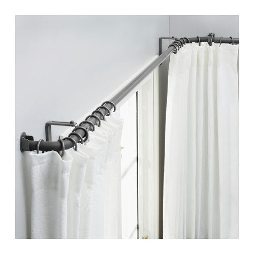 ikea hugad curtain rod combination bay window the corners can be adjusted to fit different angles of your bay window