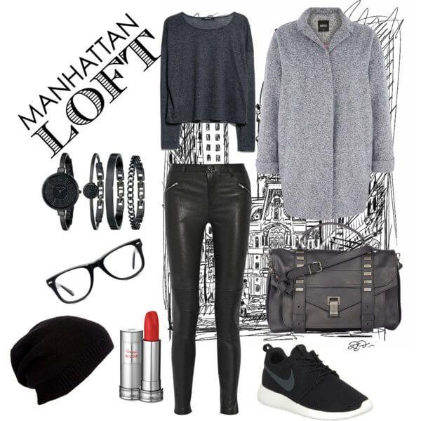Черные кожаные лосины, кроссовки, мешковатый свитер, шапка и вместительная сумка с серым пальто прямого покроя