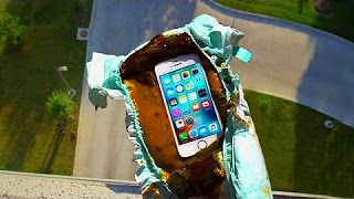 Can a Dirty Diaper Protect iPhone SE from a 100 FT Drop Test? - GizmoSlip - YouTube