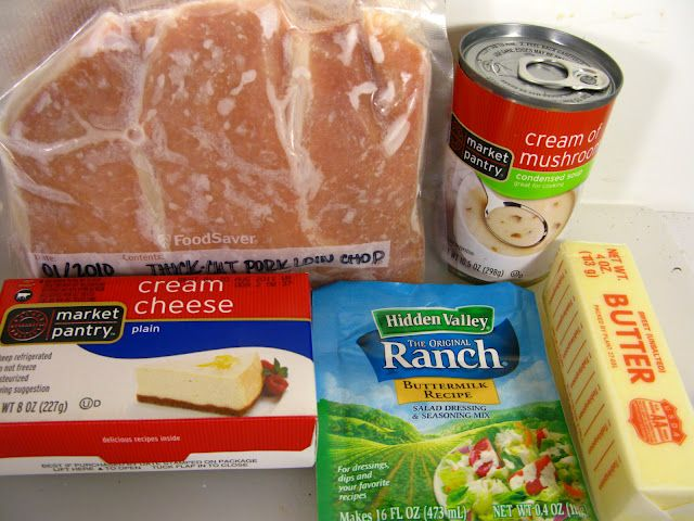 Slow-Cooker Creamy Pork Chops. Put the meat in frozen solid, melt the cheese and butter, mix in the ranch dressing mix, some pepper (I also add a can of mushrooms, drained) and eight hours later you have the easiest (and most scrumptious) chops and gravy, ever.